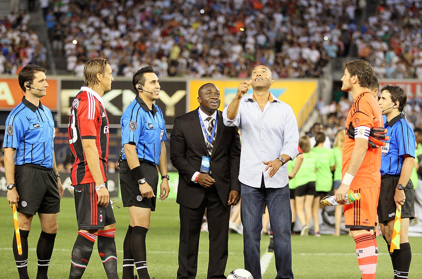 Mariano Rivera  of the New York Yankees tosses the coin before the International Friendly match between Real Madrid and AC Milan at Yankee Stadium on Aug. 8, 2012.
