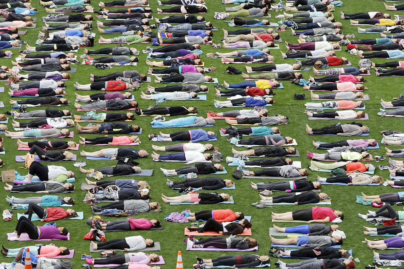 About 1,000 people took place in a yoga class at LP Field (home of the Tennessee Titans), which was a benefit for Soles4Souls, a global not-for-profit organization that distributes shoes and clothing.