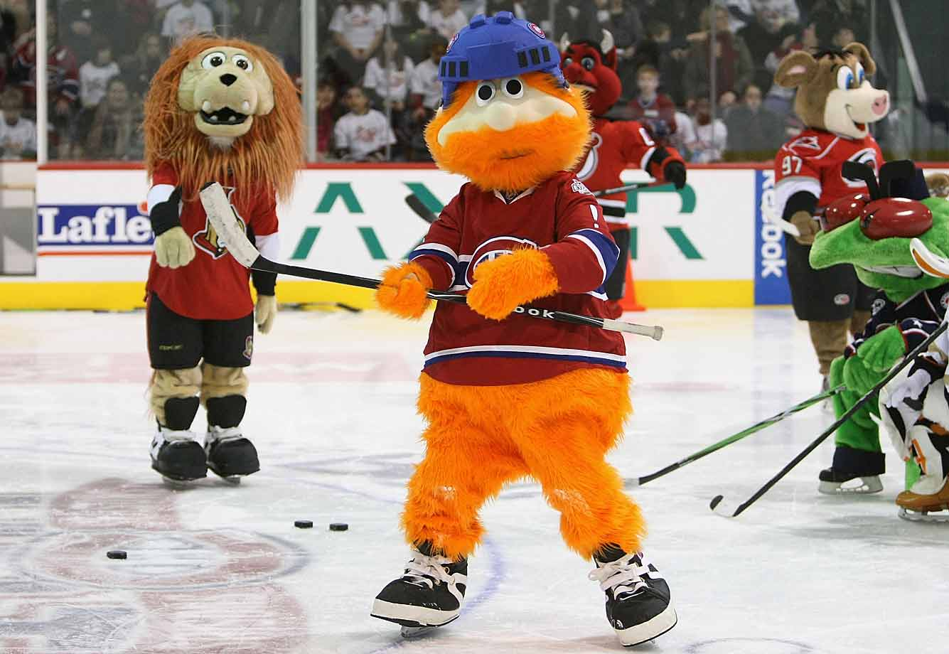 """What is he? The former mascot of the Montreal Expos. Youppi! (French for """"Yippee!"""") was taken in by the storied Habs after the MLB team relocated to Washington for the 2005 season and left him on his own."""
