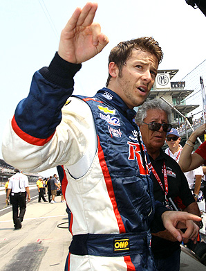 "Marco Andretti, with grandfather Mario Andretti (right), was the third-fastest driver in Friday's final ""Carb Day"" practice before the Indy 500."