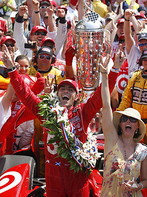 Dario Franchitti and his wife, actress Ashley Judd, celebrate his third Indianapolis 500 victory in six years.
