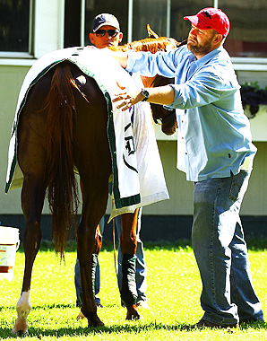 Trainer Doug O'Neill preps I'll Have Another at Belmont Park two days before he makes his run at the Triple Crown.