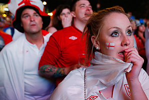 English fans gathered across Europe, like in Warsaw, to watch its Euro quarterfinal.