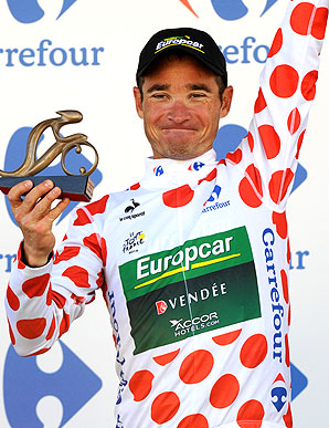 Thomas Voeckler claimed the best climber's polka-dotted jersey after winning stage 10.