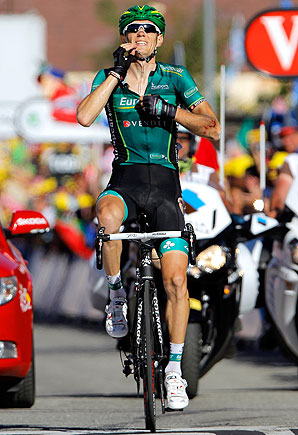 Europcar's Pierre Rolland claimed his second stage victory in the Alps in two years.