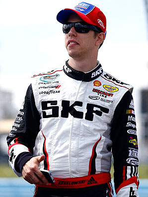 Brad Keselowski touched Kyle Busch in the final lap, which caused Busch to spin out of control and finish seventh.