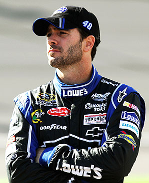Jimmie Johnson was headed towards Victory Lane until his engine blew five laps from the end; he finished fourth.
