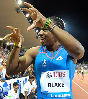 Yohan Blake tied Usain Bolt and Tyson Gay for the third best 100 meter time in history.