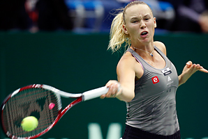 Caroline Wozniacki, shown here at the Kermlin Cup, converted all five of her break points and only lost her serve once.