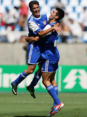 Novak Djokovic scored a goal in Sunday's charity soccer match in Rio de Janeiro.