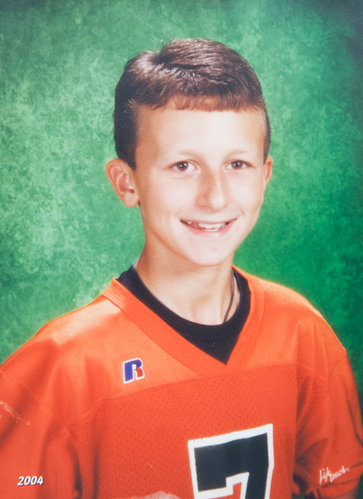 Manziel at age 11, posing for a school photo.