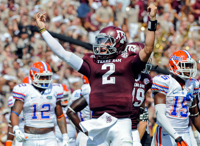 Manziel celebrates after throwing a touchdown against the Gators.