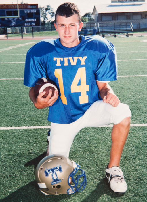 Manziel poses in pads while playing for Kerrville Tivy High in Kerrville, Texas.