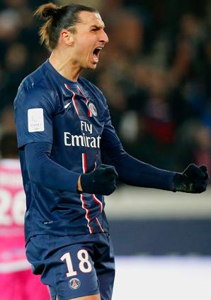 Paris Saint Germain's Zlatan Ibrahimovic leads the league with 14 goals.