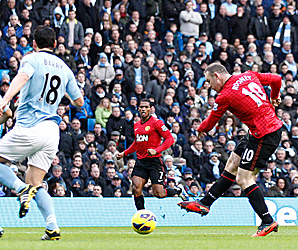 Wayne Rooney scored the first two goals for Manchester United before unselfishly deferring to Robin van Persie on the free kick.