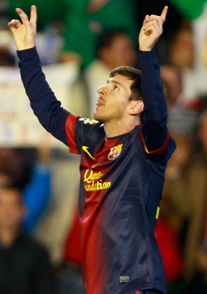 Barcelona's Lionel Messi scored twice to set a record for most goals in a season.