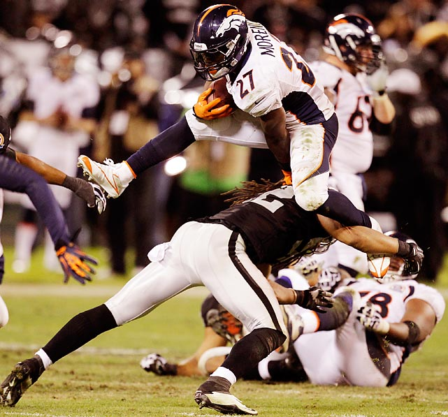Running back Knowshon Moreno leaps over falling Raiders linebacker Philip Wheeler. Moreno continued to run over the Raiders all game, totaling 119 rushing yards and 48 receiving yards during Denver's 26-13 victory.