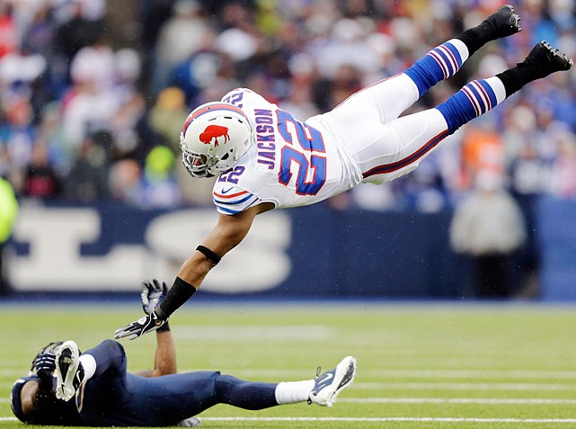 Quintin MIkell's hit sent Buffalo running back Fred Jackson airborne.