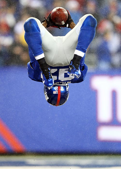 After having scored his third touchdown of the game, David Wilson celebrated with a backflip.