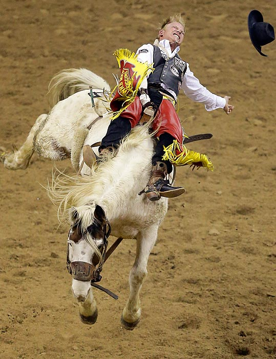 Wes Stevenson rides Freckled Doll bareback in the National Finals Rodeo in Las Vegas. Stevenson won first place in the go-around.