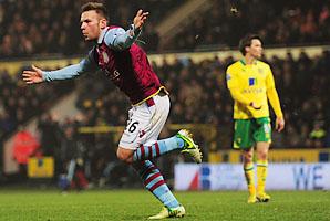 Andreas Wiemann celebrates his goal in Aston Villa's win over Norwich.