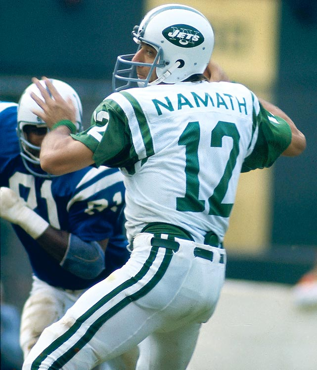 After coming through on his guaranteed victory in Super Bowl III, Joe Namath became a star. The Jets' number 12 would finish with a Hall of Fame career that included 27,663 passing yards. <italics>Honorable Mentions: </italics> <italics>Bob Griese, John Brodie, Randall Cunningham, Adam Oates, Peter Bondra, George Yardley, Maurice Stokes</italics> Click here for The 11 Best Athletes to Wear No. 11.