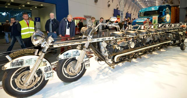 The Bobby Petrino special: With 10 seats and seven Harley Davidson engines, this 25-1/2-foot-long baby is street legal (at least in Essen Germany, where it was on display at an auto show) and perfect for outings with those special someones.