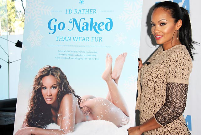 "The Basketball Wives star unveiled her ""Cheeky"" new anti-fur ad for the PETA folks at the Bob Barker building in LA. Gottta imagine if Bob was on hand, his ol' ticker was a-tockin' pretty good at the sight of this."