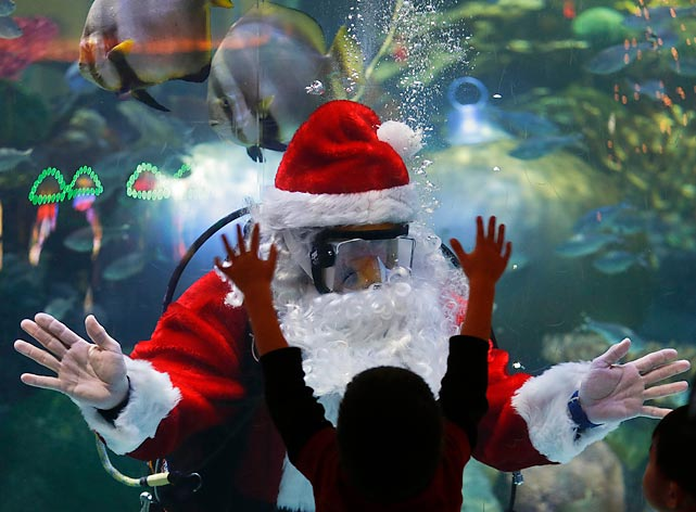 Something's fishy about this. Hanging around aquariums seems to be Ol' St. Nick's thing this year. Last week, he was floating around one in Germany. Now he's tanking it at the Silverton Hotel-Casino in Vegas. Probably looking for Mr. Narwhal. (<bold>CLICK HERE TO SEE WHY.</bold>)