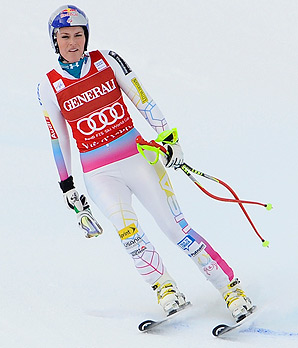 Lindsey Vonn skis down the mountain after crashing out of the downhill event.
