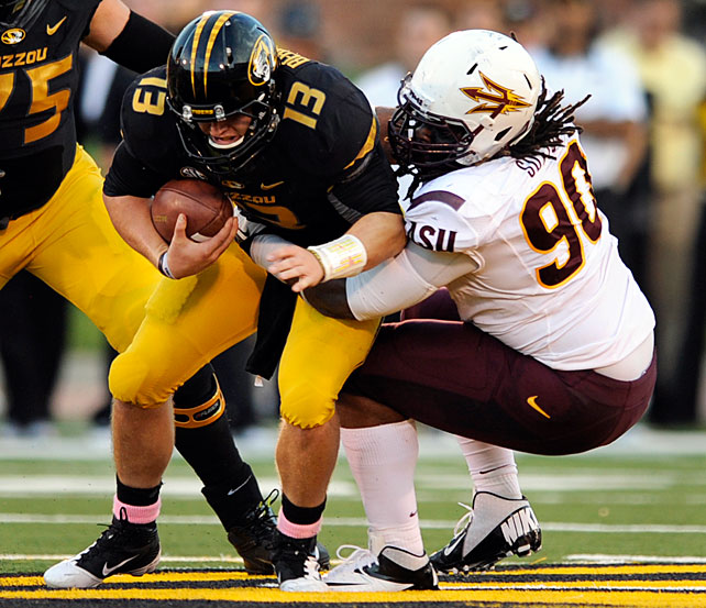 The Sun Devils' defensive tackle wreaked havoc from the line this year. He rebounded from a midseason knee injury to finish with 20 tackles for loss and 10.5 sacks, fourth and 16th in the FBS, respectively.
