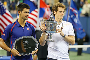 Andy Murray (right) beat Novak Djokovic in a Monday final at the U.S. Open this year.