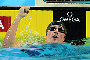 To break his second short-course world record in two days, Lochte finished the 100-meter individual medley in 50.71 seconds.