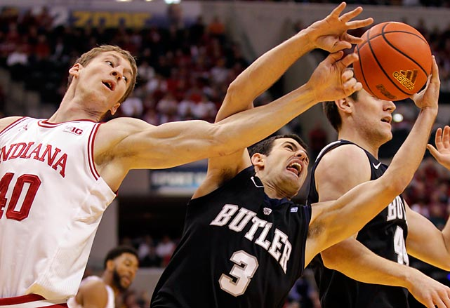 Butler's Alex Barlow tries to keep the ball away from Indiana's Cody Zeller. Butler handed the top-ranked Hoosiers their first loss with an 88-86 overtime win.