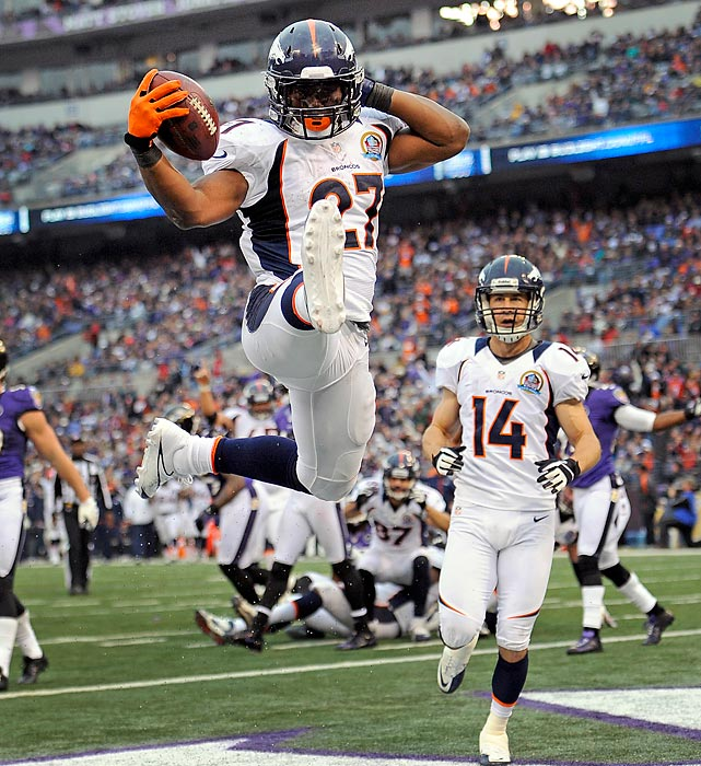 Denver running back Knowshon Moreno celebrates after scoring a touchdown in the Broncos' win over Baltimore.