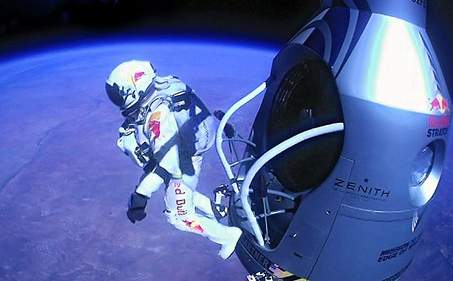 Pilot Felix Baumgartner of Austria jumps out of the capsule during the final manned flight for Red Bull Stratos on Oct. 14, 2012 in space. The Austrian broke the world record for the highest free fall in history after making a 23-mile ascent in a capsule attached to a massive balloon.