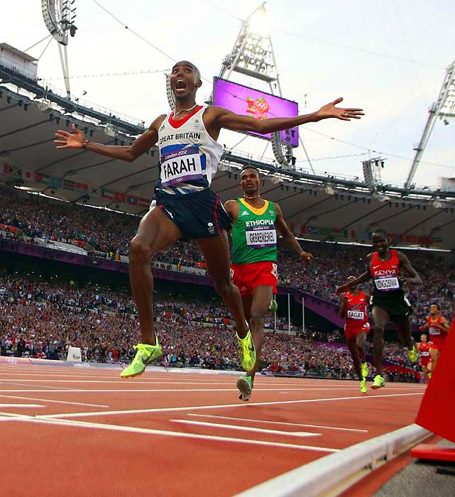 Much to the joy of the British crowd, Britain's Mo Farah took the 5,000 meters a week after winning the 10,000 at the Summer Olympics.