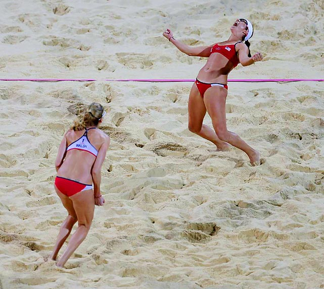 Misty May-Treanor and Kerri Walsh won their third consecutive gold medal in beach volleyball at the 2012 Summer Olympics, getting past their American counterparts Jennifer Kessy and April Ross, surprise winners over Brazil.