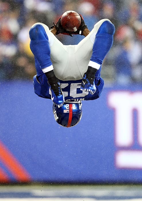 After having scored his third touchdown of the game against the Saints, running back David Wilson celebrated with a backflip.