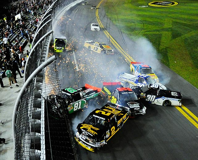 The 2012 NectEra Energy Resources 250 involved a multi-truck wreck in Daytona Beach, Fla.
