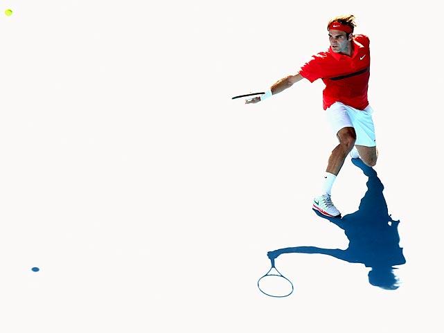 Roger Federer plays a backhand shot during an Austalian Open quarterfinal match against Juan Martin Del Potro.