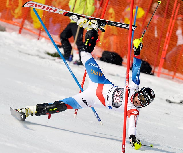 Swiss skier Wendy Holdener wears a worried expression immediately before wiping out at a World Cup Slalom event in Germany.