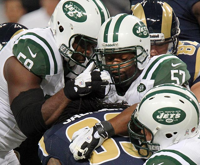 "Bart Scott tries to lead a media mutiny after the Jets' 27-13 win over the St. Louis Rams. Bart Hubbuch of the New York Post live tweeted the event, stating that Scott ordered every Jets players to say nothing but 'both teams played hard' and that Scott threatened anybody that talked. Scott screams at Bryan Thomas and calls him a ""m*****f****** sellout"" after Thomas begins answering questions."