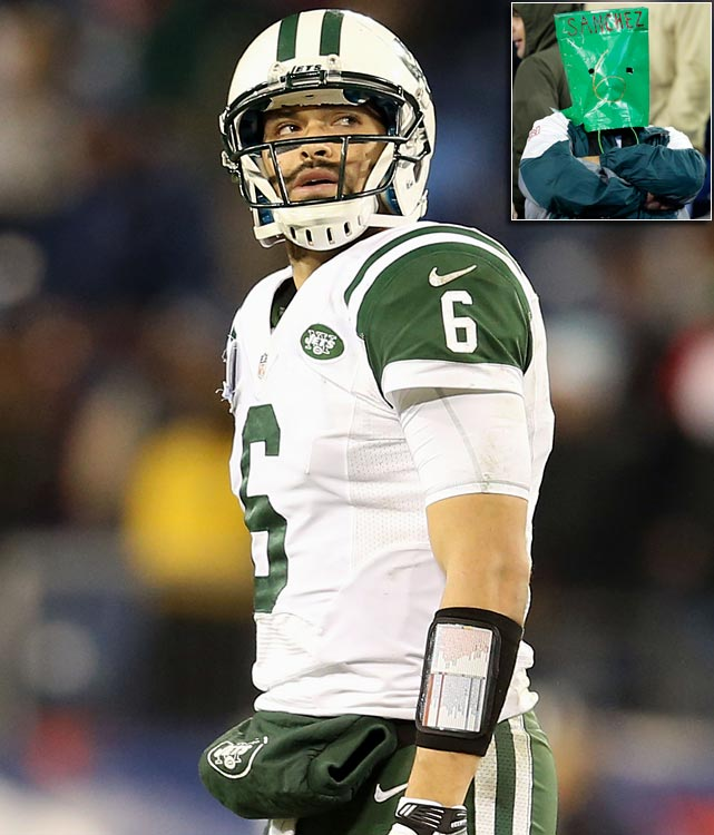 Mark Sanchez turns the ball over five times, which includes fumbling the snap on the last drive, in a 14-10 loss to Tennessee, ending the Jets' playoffs hopes. Rex Ryan announces the next day that Sanchez will be benched in favor of backup Greg McElroy, who led the Jets to a 7-6 win over Arizona just weeks earlier.