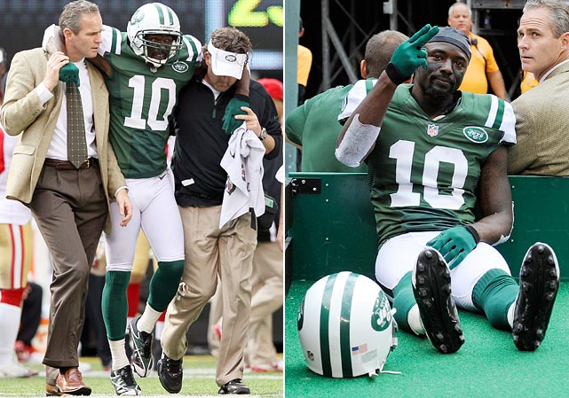 The Jets are blasted 34-0 by the 49ers at home and wide receiver Santonio Holmes is lost for the season with a Lisfranc foot injury.