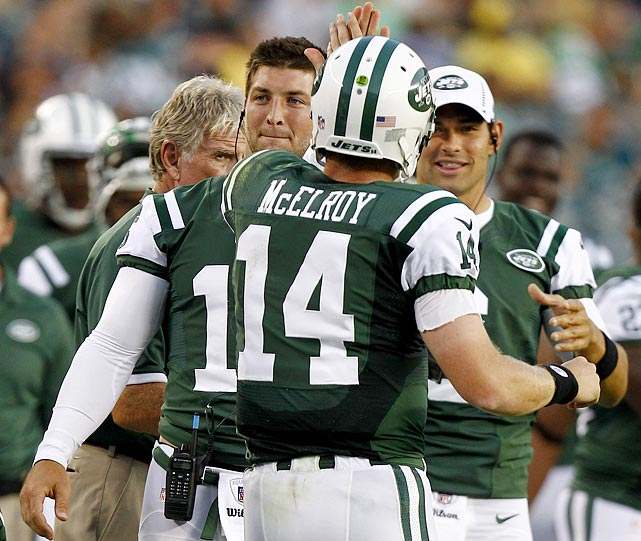 The Jets (0-4) become the first team in 35 years to go three preseason games without a touchdown, which matches the 1977 Atlanta Falcons for offensive futility. The Jets hadn't scored a TD in the 13 quarters before third string quarterback Greg McElroy tossed a 6-yard TD pass to Terrance Ganaway midway through the second quarter of their last preseason game, Aug. 30 vs. Eagles. Sanchez and Tebow failed to do that in 35 possessions.