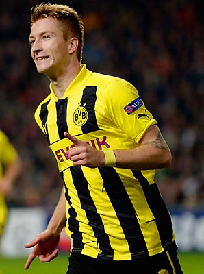 Marco Reus has six goals and six assists in Bundesliga play for Dortmund this season.