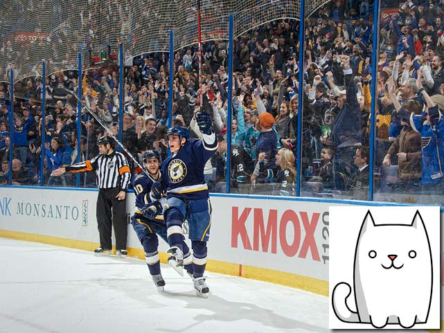 To create the signature rude sound that accompanies a player's advancement to another level in the new mobile game Fart Cat, designers used a recording of the horn that blares every time the Blues score a goal at Scottrade Center in St. Louis. <italics>Sept. 24 issue</italics>