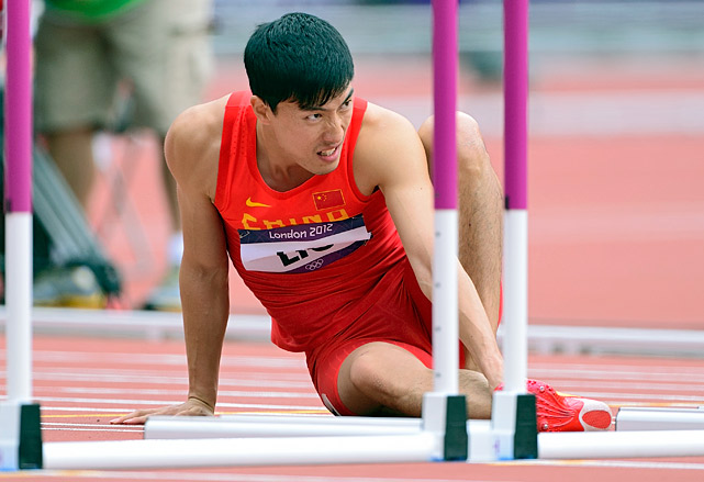 "A Chinese hospital used a photo of former world-record hurdler and national hero Liu Xiang crumpled on the track after he crashed into the first hurdle at the London Olympics -- accompanied by the words ""Falling immediately after the start! ... men's unspeakable agony"" -- to promote a cure for male sexual dysfunction. <italics>Oct. 8 issue</italics>"