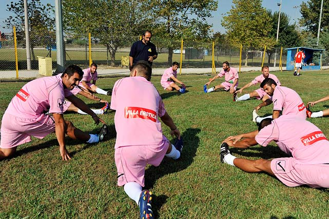 In an effort to raise funding, the Voukefalas amateur soccer club in Larissa, Greece, has signed two local brothels as sponsors and is wearing their logos on pink practice jerseys. <italics>Oct. 29 issue</italics>